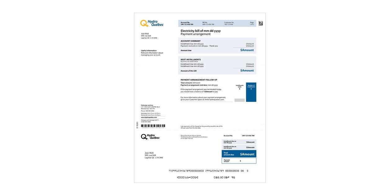 Regular bill under a payment arrangement | Hydro-Québec