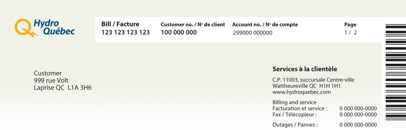 Header of bill with interactive areas that customer expands by clicking on +.