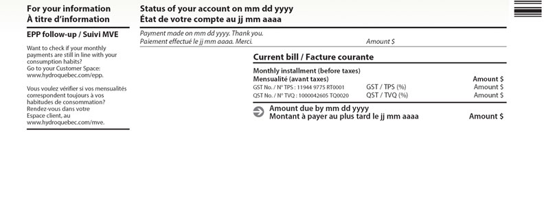 Header of monthly bill with interactive areas that customer expands by clicking on +.