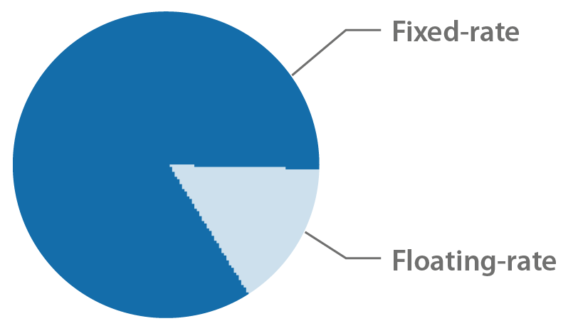 Fixed-rate at 84,2% and floating-rate at 15,8%.