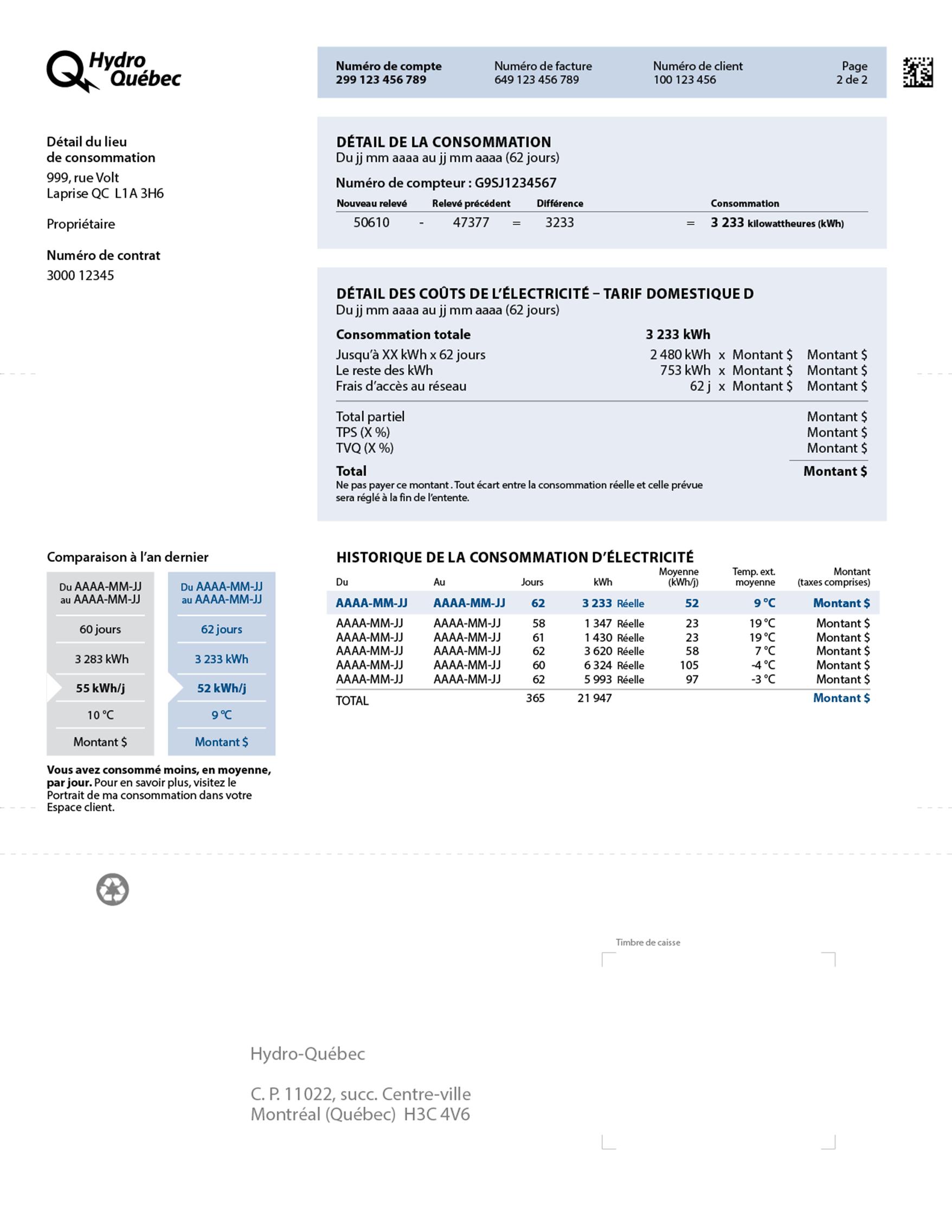 Facture standard - Entente de paiement | Hydro-Québec